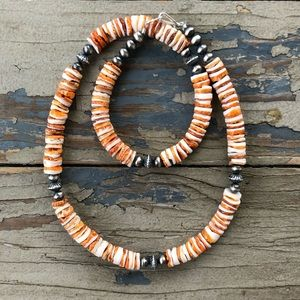 Desert Pearl & Spiny Oyster Chunky Necklace